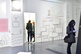 Dortmunder U, moving people ausstellung,  wall with tape art