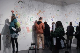 Dortmunder U, moving people ausstellung, drawing wall picture
